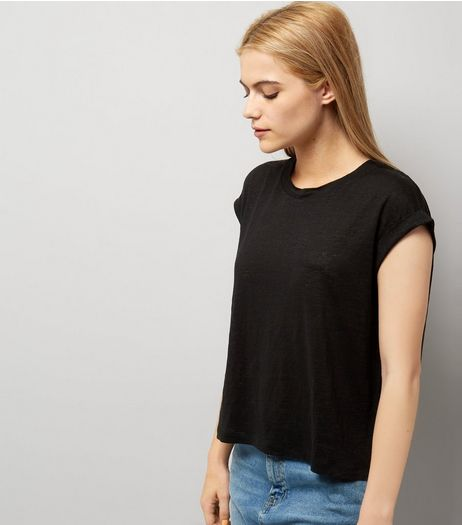 Black Linen T-Shirt | New Look