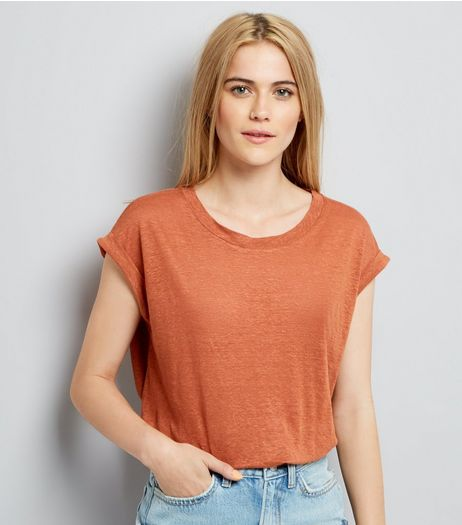 Light Brown Linen T-Shirt | New Look