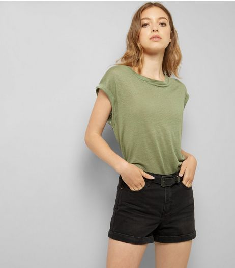 Khaki Linen T-Shirt | New Look