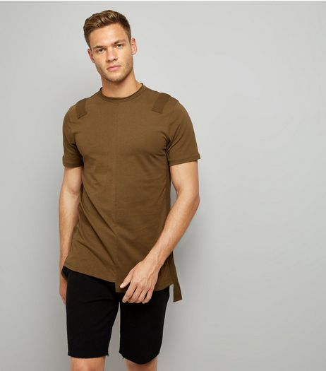 Khaki Tape Front Spliced T-Shirt | New Look