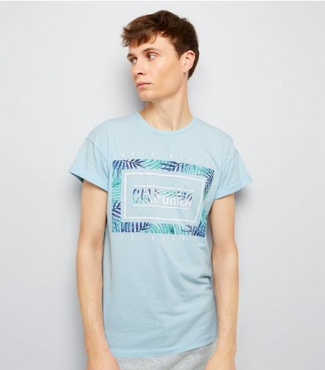 Blue California Leaf Print T-Shirt | New Look