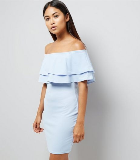 Petite Pale Blue Brill Trim Bardot Bodycon Dress | New Look