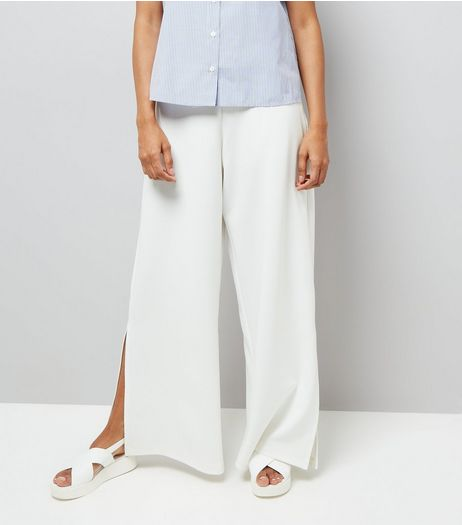 Petite Cream Wide Leg Split Hem Trousers | New Look
