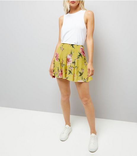 Yellow Floral Print High Waisted Shorts | New Look