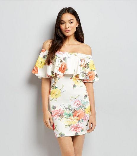 White Floral Print Bardot Bodycon Dress | New Look