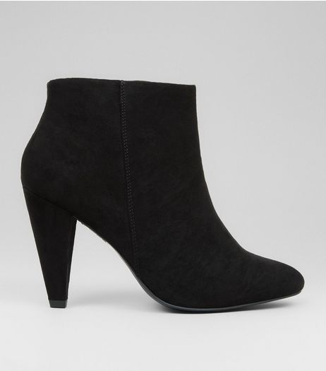 Wide Fit Black Suedette Cone Heel Shoe Boots | New Look