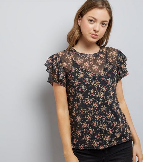 Black Floral Print Frill Trim Mesh Top | New Look