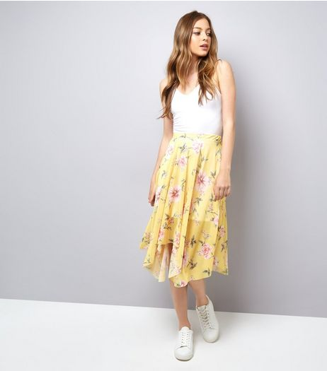 Yellow Floral Print Hanky Hem Skirt | New Look