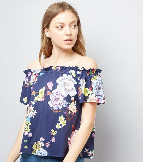 Innocence Navy Floral Print Bardot Dress | New Look