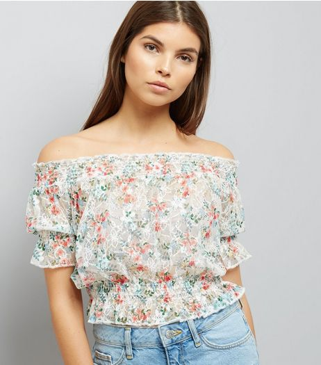 White Floral Print Lace Bardot Neck Top | New Look