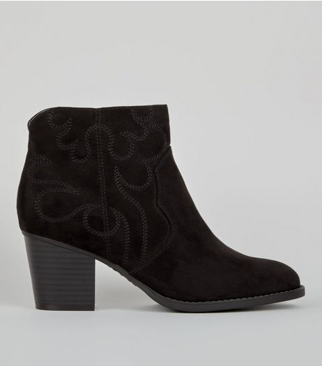 Wide Fit Black Suedette Stitch Detail Western Boots | New Look