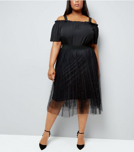 Curves Black Beaded Mesh Midi Skirt | New Look