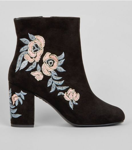 Wide Fit Black Floral Embellished Ankle Boots | New Look