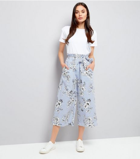 Blue Pinstripe and Floral Print Culottes | New Look
