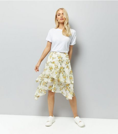 White Floral Print Asymmetric Hem Midi Skirt | New Look