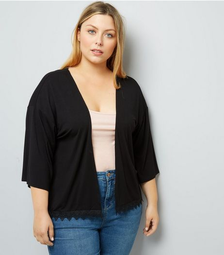 Curves Black Crochet Hem Kimono | New Look