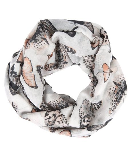 Grey Butterfly Print Snood | New Look
