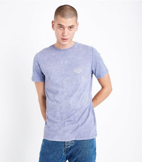 Lilac Acid Wash Detroit Back Print T-Shirt | New Look