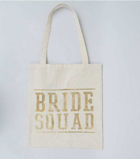 Gold Bride Squad Print Canvas Bag  | New Look