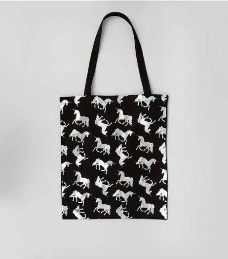 Black Metallic Unicorn Canvas Bag | New Look