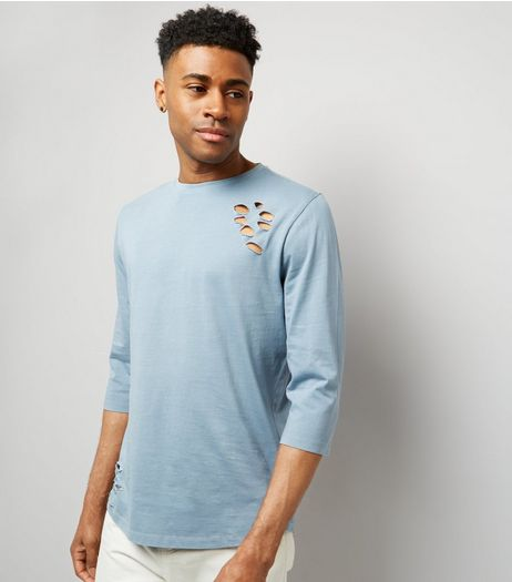 Pale Blue Ripped 3/4 Sleeve T-Shirt | New Look