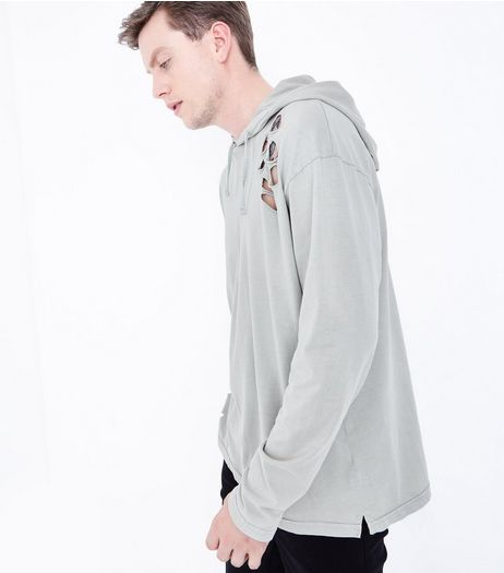 Khaki Acid Wash Ripped Hoodie | New Look