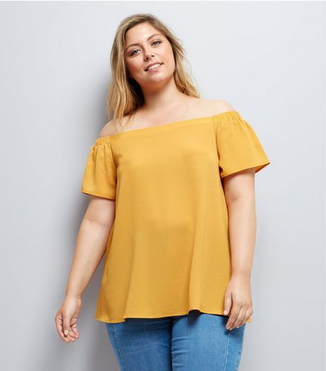 Curves Yellow Crepe Bardot Neck Top | New Look