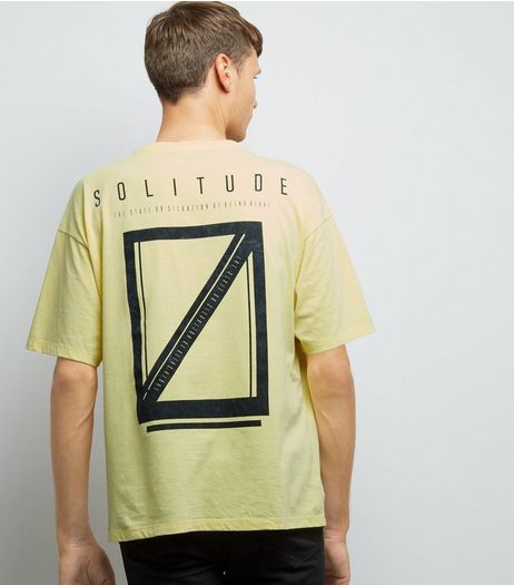 Yellow Acid Wash Solitude Print T-Shirt | New Look