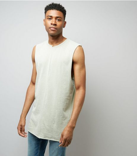 Light Green Acid Washed Spliced Neck Tank Top | New Look
