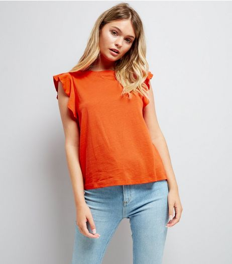Orange Frill Sleeve Cotton T-Shirt | New Look