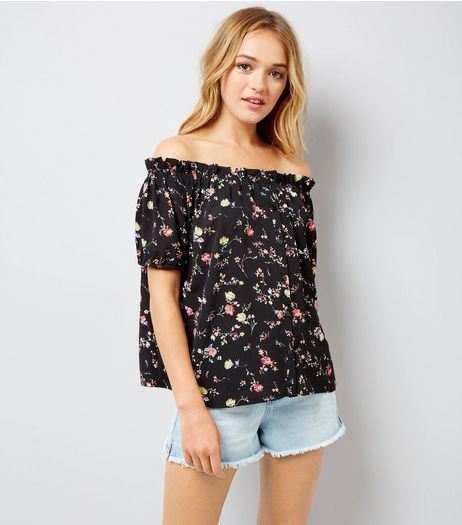 Cameo Rose Black Floral Print Bardot Neck Top | New Look