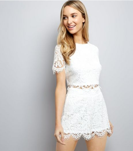 White Lace Scallop Hem Crop Top | New Look