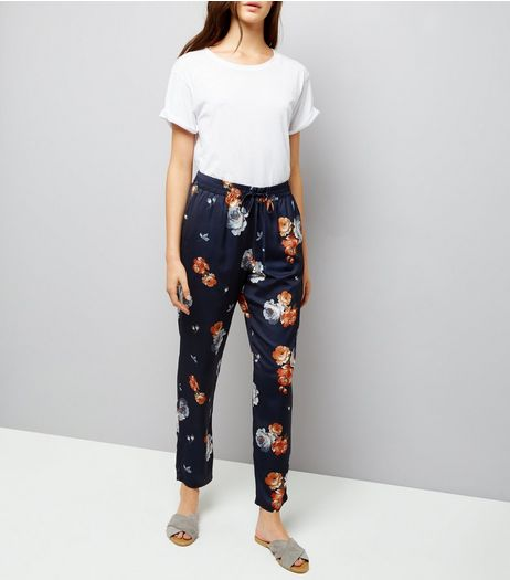 Blue Sateen Floral Print Joggers | New Look
