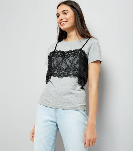 Grey Lace Bralet T-Shirt | New Look