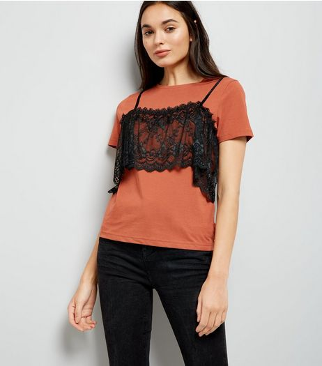 Brown Lace Bralet T-Shirt | New Look