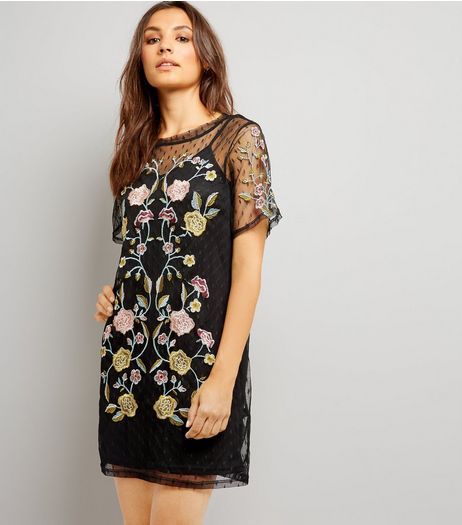 Black Spot Mesh Floral Embroiderd Tunic Dress | New Look