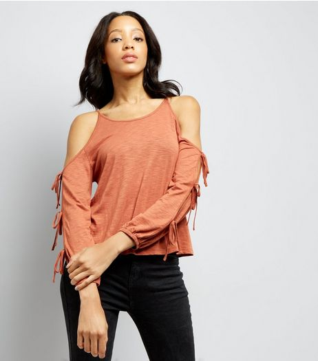 Brown Cold Sholder Tie Sleeve Top | New Look