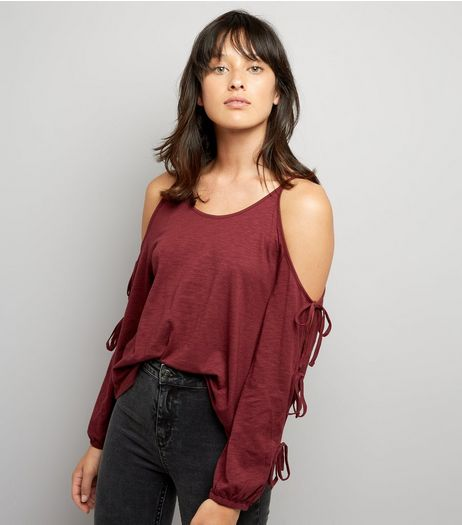 Burgundy Cold Sholder Tie Sleeve Top | New Look