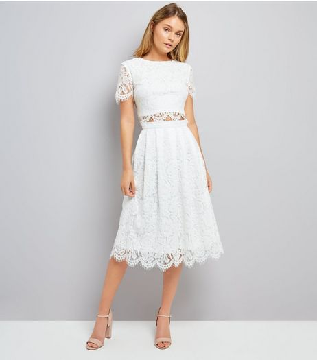 Cream Lace Scallop Hem Midi Skirt | New Look
