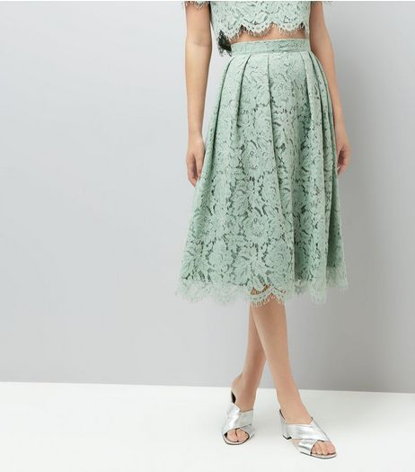 Mint Green Lace Scallop Hem Midi Skirt | New Look