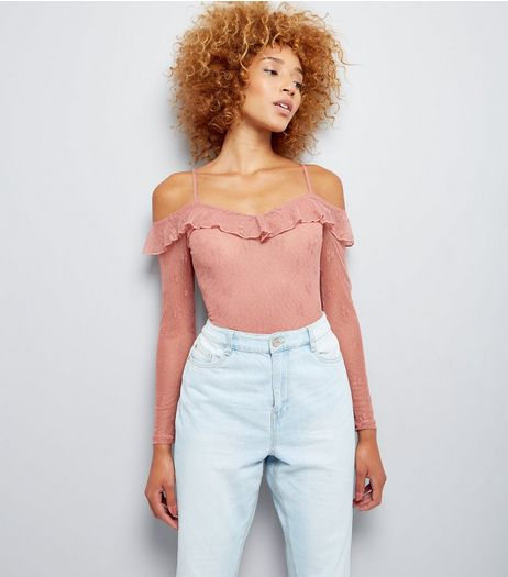 Pink Mesh Lace Cold Shoulder Bodysuit | New Look