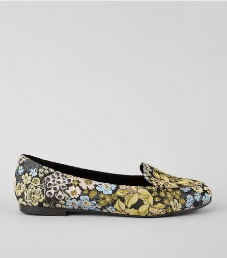 Black Floral Brocade Loafers | New Look