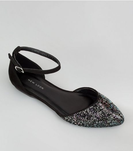 Black Sequin Embellished Pointed Pumps | New Look