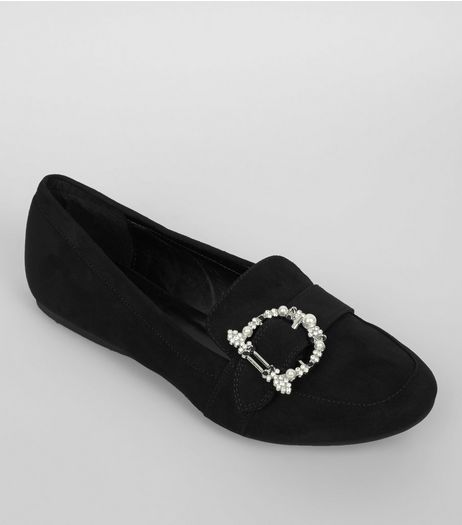 Black Suedette Embroidered Buckle Loafers  | New Look