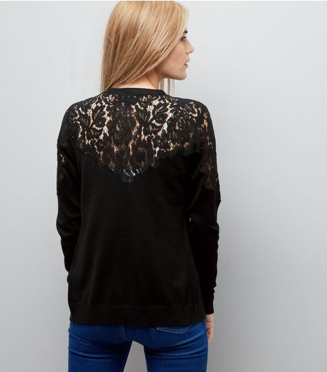 Black Lace Yoke Cardigan | New Look