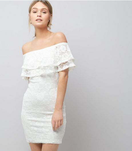 Cream Lace Bardot Neck Bodycon Dress  | New Look