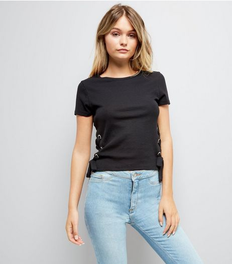 Black Ribbed Lace Up Side T-Shirt | New Look