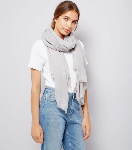 Grey Plain Scarf  | New Look