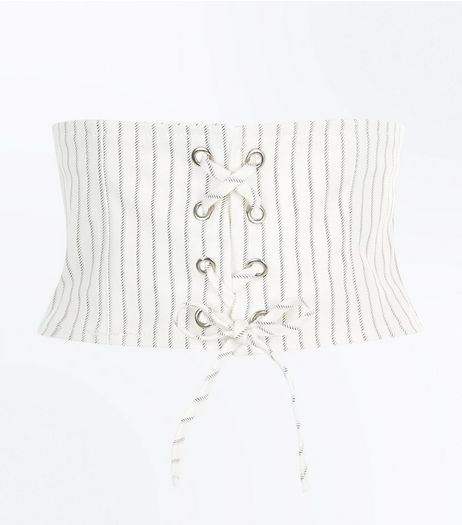 White Stripe Print Corset Belt | New Look