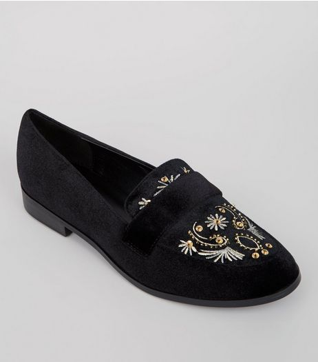 Black Velvet Embroidered Loafers  | New Look